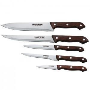 Набор ножей 5предметов Webber ВЕ-2235 в блистере коричневая ручка